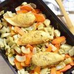 Honig-Senf-Huhn mit Ofengemüse