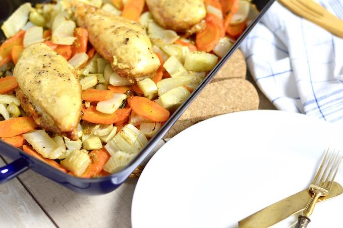 Honig-Senf Huhn mit Ofengemüse