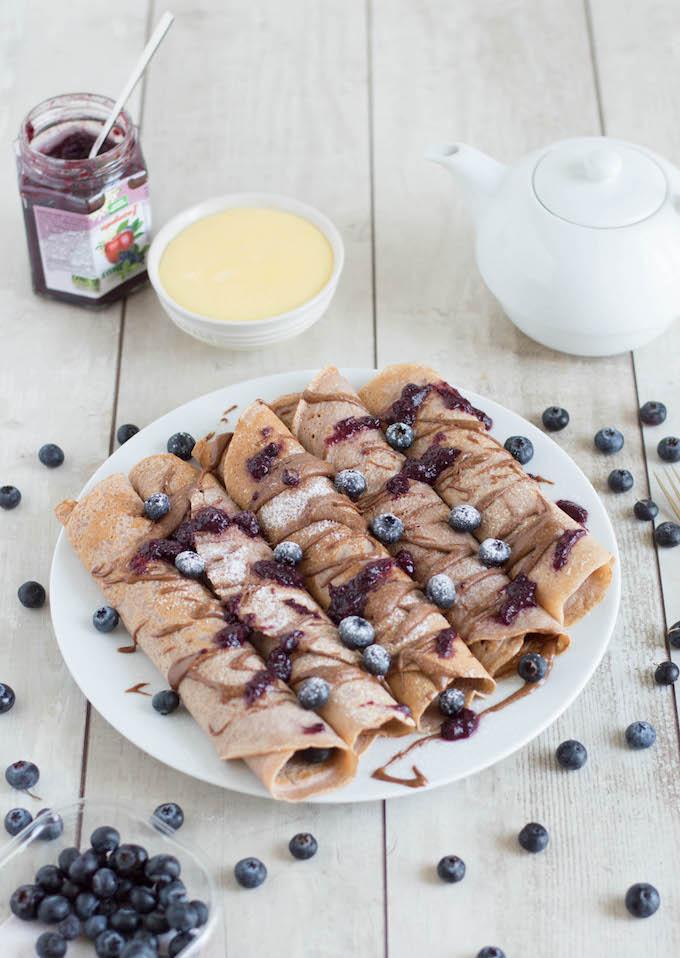 Maronicrêpes mit Vanillepudding